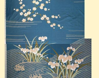Blue iris and Japanese maple yukata fabric - 53 inches wide - by the panel