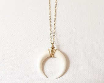 The Luna Necklace, cresecnt moon horn necklace on 14k gold chain