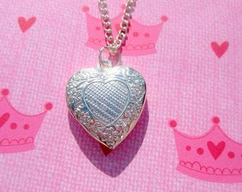 childrens-heart locket-sterling silver Plated-Flower girl gift-girls heart jewelry-flower girl necklace-little girl locket-kids heart locket