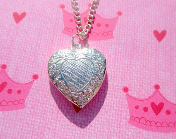 childrens-heart locket-sterling silver-Plated-Flower girl gift-girls heart jewelry-flower girl necklace-little girls locket-kids heart