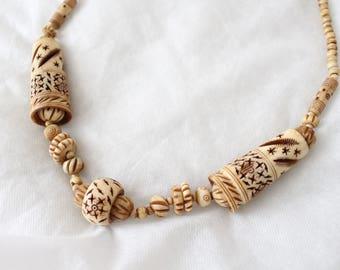 Antique 1920s Hand-Carved Bone Necklace