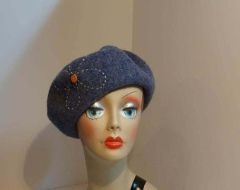 Wool Beret/Tam Classic 1930's Heather Blue Daisy