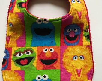Sesame Street Bib - Toddler Bib - Drool Bib - Custom Bibs - Cotton Baby Bib - Baby Shower Gift