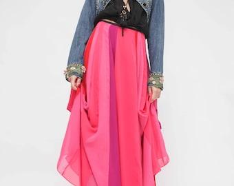 Boho maxi Skirt  Length Floor / Summer  Pink  Red Maxi Skirt? Wrap Maxi Skirt/ One Size