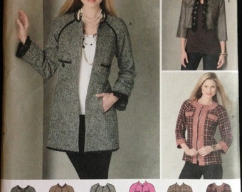 Simplicity 2149 - Coat or Jacket in Short Waisted, Hip, or Below Hip Length with Trim Options - Size 6 8 10 12 14
