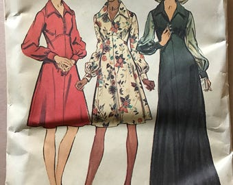 Simplicity 5968 - 1970s Shaped and Raised Waist Dress with Pointed Collar in Knee or Maxi Length - Size 14 OR 16