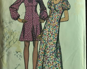 Simplicity 9446 - 1970s Raised Waist Dress with Scopp Neckline in Above Knee or Maxi Length - Size 14 Bust 36