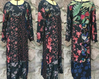 Vintage 90s Sacred Threads Rayon Maxi Dress / Black with Floral Patchwork Print / Made in India / Women's Size Medium to Large