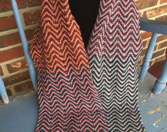 Ready to ship!!!   Hand knitted chevron multicolor scarf, zig zag pattern, blue, pink, red, green colors, versatile