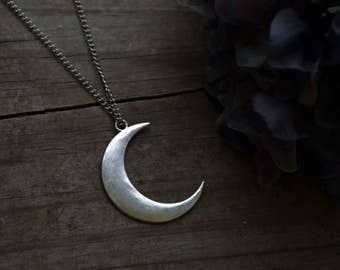 Lunar Goddess Large Silver Crescent Moon Necklace