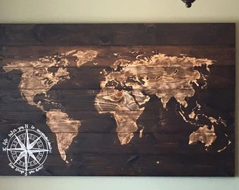 Reverse Stained World Map Wood Sign, Life Takes You to Unexpected Places