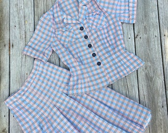 Vintage 1940s Two Piece Plaid Cotton Suit Skirt / Hourglass /ww2/ Femme Fatale