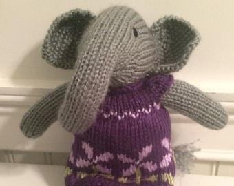 "Knitted Stuffed ""Edwina"" The Elephant"