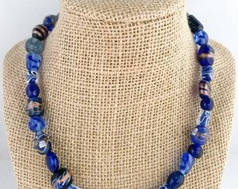 Cobalt blue necklace, cobalt blue beaded necklace, blue necklace, blue beaded necklace