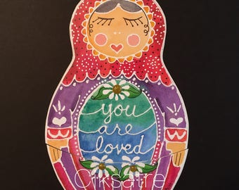 5 X 7 Russian Doll Card with Note Inside