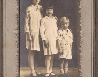 Yours Truly, Edwardine, Geraldine and Robert Waltrip, Cabinet Card Photo, Vintage Photograph, Zahn Photo Studio, East St. Louis, Illinois
