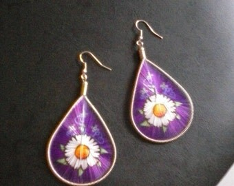 Women's purple with white flowers, string earrings, Free shipping