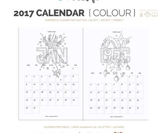 SALE Printable Colouring In 2017 Calendar : FUSElife Large A4 and US Letter (jes0493)