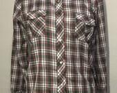 Vintage blouse // womens vintage top // pearl snap buttons // retro shirt // vintage plaid // retoro plaid // vintage kmart