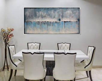 FRAMED Large Abstract Art Gray Original Painting Blue Gray Wall Art Modern Distressed,  Large Contemporary Blue Gray Canvas Art, Christovart