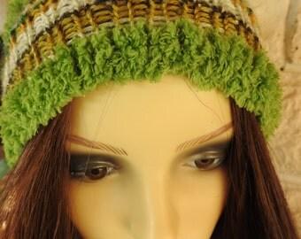 Handmade Woman's Green Muticoloured Pompom Hat - Free Shipping
