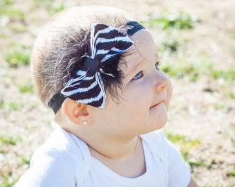 Baby Girl Headband- Baby Headbands- Zebra Print Headband- Flower Headband- Flower girl Headband- Newborn Headband- Black White Headband