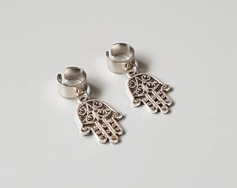 Hamsa hand non piercing ear cuff, silver plated fake piercing, faux earring, cartilage jewelry, no piercing jewellery, bohemian, friend gift