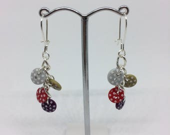 Polka Dot Button Earrings - silver plated