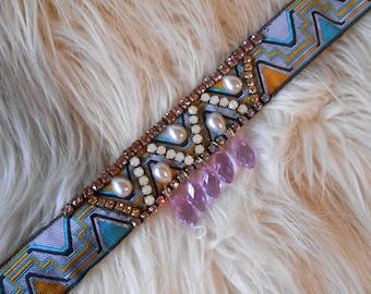 Swarovski Crystal Choker Necklace Dangle Choker Bohemian Chokers Boho Wedding Choker Necklace Purple Choker Hippie Choker Boho Bride Choker