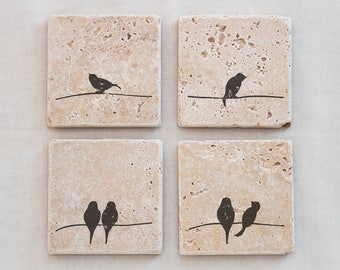 Drink coaster set of 4 Natural Stone Coasters- Drink Coasters are great for a Wedding Gift, Birthday gift, or a housewarming gift