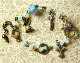 Victorian Mothers Day Spring Easter Bunny Charm Bracelet with Brass Findings