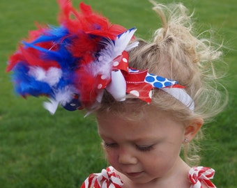 Over the top 4th of July headband - red white and blue headband - independence day headband - Fourth of July headband