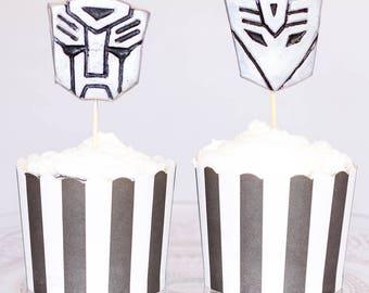 12 x Transformers inspired metallic silver sugar fondant cake toppers / cake stakes