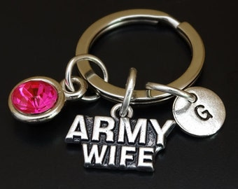 Army Wife Keychain, Army Wife Key Chain, Army Wife Charm, Army Wife Pendant, Army Wife Jewelry, Army Keychain, Gift for Army Wife