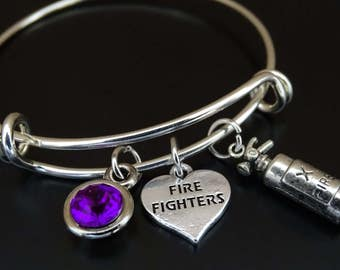 Firefighter Bangle Bracelet, Adjustable Expandable Bangle Bracelet, Firefighter Charm, Firefighter Pendant, Firefighter Jewelry,Fire Fighter