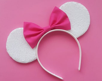 White Sequin Mouse Ears