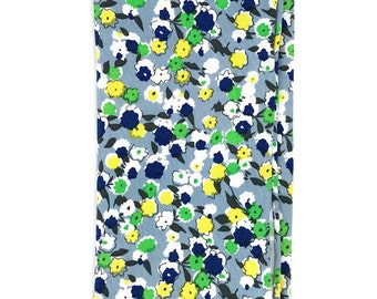HSQ1148 - Green and Blue Floral Print Hand Rolled Cotton Pocket Square, Hankie, Handkerchief