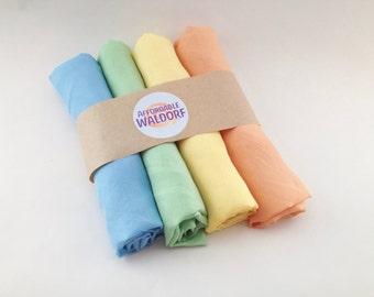 "Play Silks - Pastel Set (21""x 21"") waldorf play silk - pastel , rainbow silk, play cloth, dress up play"