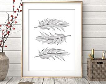 Feather Print, Printable Art, Scandinavian Art, Feather Art, Feather Wall Art, Wall Decor, Poster, Digital Download, Home Decor