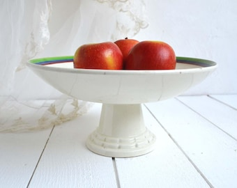 French Vintage Art Deco Ironstone Cake Stand Compote Création Primavera HBCM Choisy le Roi Madeleine