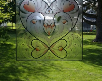 """Heart """"Stained Glass"""" Style WINDOW CLING"""