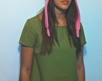 Combo: Cosplay Pink Bunny Hat + Green Dress