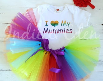 I Love Tutu My Mummies rainbow girls headband babysuit birthday personalised one set photo prop cake smash