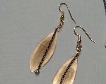 Satin Finish Brass Earrings, Brass & Pyrite Earrings, Hematite Metal on Brass Earrings,