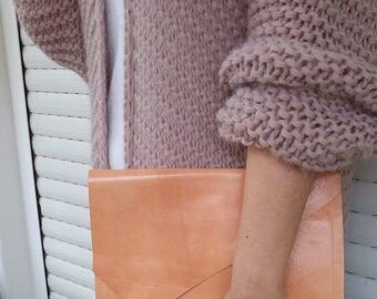 Salmon Leather Clutch, Apricot Leather Clutch, Apricot Pink Leather Clutch Asymmetric Flap, Salmon Pink Leather Clutch Diagonal Flap