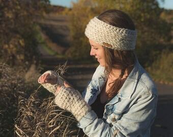 Set of headband and fingerless gloves/The Gracie gloves and headband