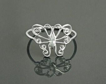 Dainty Butterfly Ring, Sterling Silver Ring, Pretty Butterfly Ring, Lace Ring, Stackable Ring, Midi Ring, Filigree Ring, Popular Boho Ring