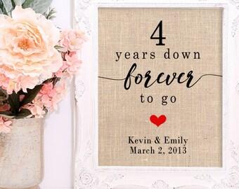 4 Year Wedding Anniversary, 4th Anniversary Gift, Personalized Anniversary Gift, Anniversary Gift for Wife