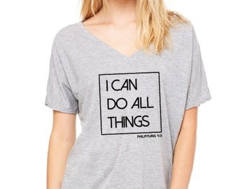 "Ladies ""I Can Do All Things"" Athletic Heather, Short Sleeve Tee"
