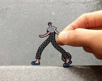 Walking Boy Enamel Pin